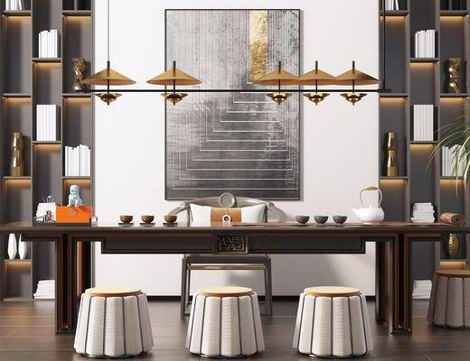 书柜, 吊灯, 装饰画, 茶桌, 茶具组合, 植物