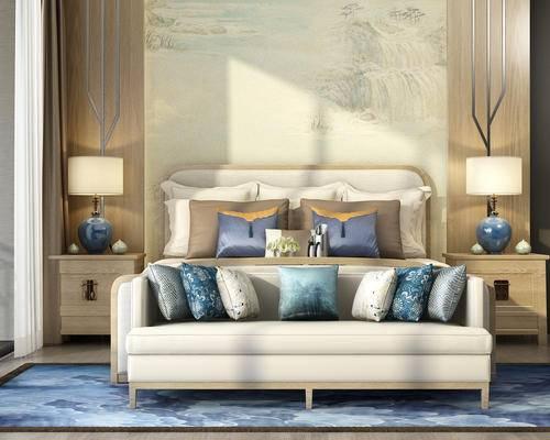 床具, 中式, 新中式, 台灯, 床头柜