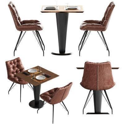 休闲桌椅, 休闲椅, 休闲桌, 餐具, 现代, 工业风