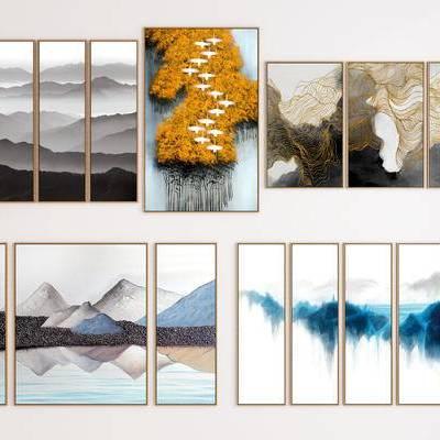 新中式挂画, 墙面装饰画, 山水画, 画框