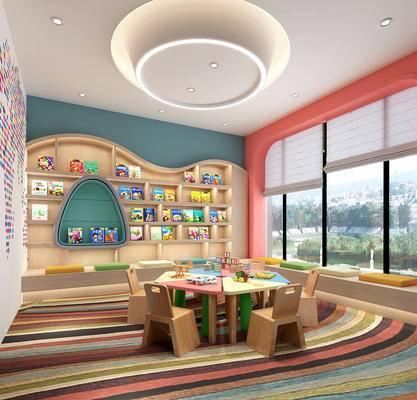 现代, 预览室, 书房, 休闲区, 工装