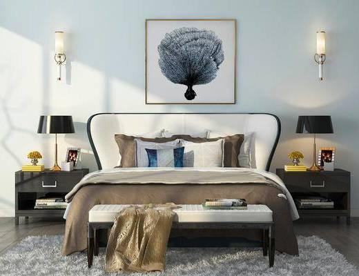 卧室, 双人床, 床尾凳, 床头柜, 台灯, 装饰画, 挂画, 壁灯, 摆件, 装饰品, 陈设品, 现代