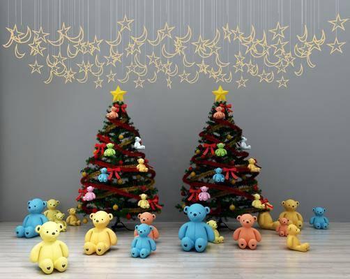 圣诞树, 玩具摆件, 星星吊灯, 玩具熊, 现代