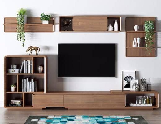 电视柜, 书籍, 摆件组合