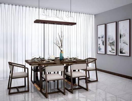 桌椅组合, 餐桌, 单椅, 椅子, 新中式桌椅组合, 实木, 餐具, 吊灯, 挂画, 装饰画, 花瓶, 花卉, 新中式