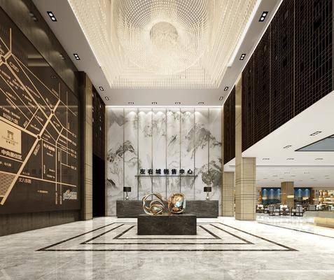 现代售楼处, 前台, 单椅, 茶几, 摆件, 吊灯, 现代