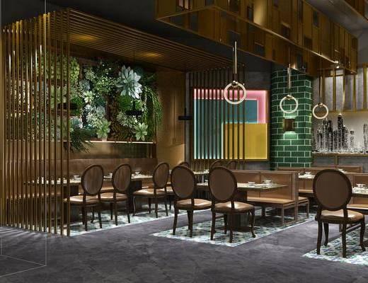 餐厅, 中餐厅, 工业风中餐厅, 桌椅组合, 植物, 盆栽, 摆件组合