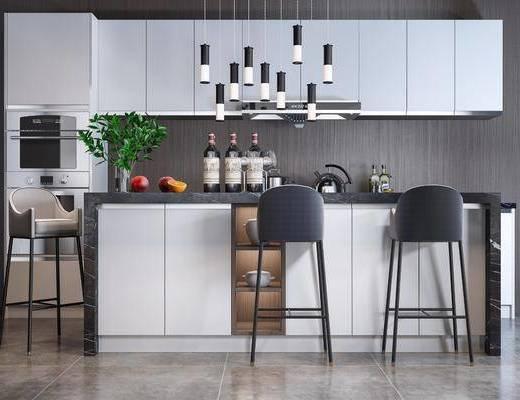 吧台, 吧椅, 单椅, 吊灯, 橱柜组合, 电器, 厨具组合