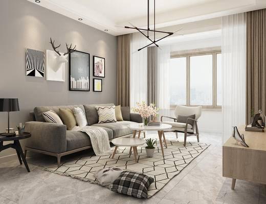 北欧, 客厅, 沙发, 茶几, 吊灯, 挂画, 鹿角, 摆件, 装饰品