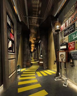 走廊, 过道, 墙饰, 机器人, 落地灯, 工业风