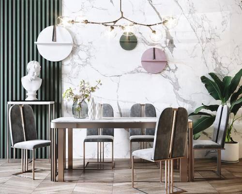 吊灯, 餐桌, 桌椅组合, 装饰品, 盆栽植物