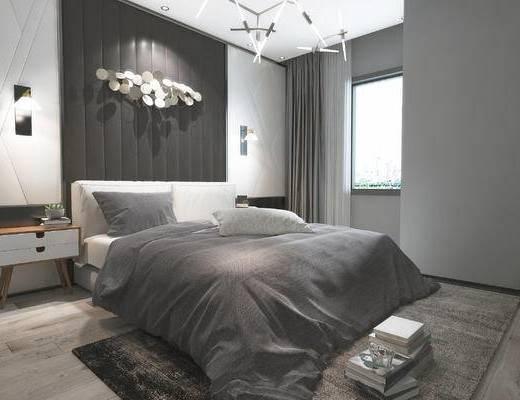 现代, 简约, 卧室, 双人床, 床具, 床头柜, 吊灯, 墙饰, 摆件, 壁灯