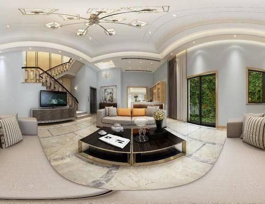 客厅, 餐厅, 家装全景, 沙发茶几组合, 边柜组合, 现代