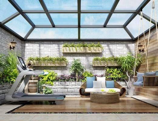 屋顶花园, 跑步机, 健身器材, 阳台露台, 阳光房, 摇椅, 花园, 壁灯花架, 休闲沙发组合, 多人沙发, 茶几, 吊椅, 盆栽, 绿植植物, 东南亚