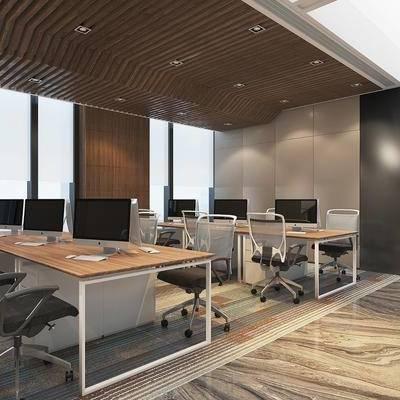 办公区, 现代办公区, 现代, 办公桌, 单椅, 椅子