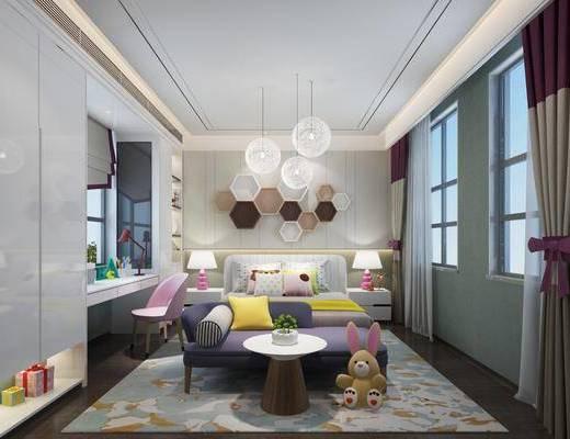 儿童房, 双人床, 躺椅, 茶几, ?#39184;?#26588;, 台灯, 吊灯, 墙饰, 玩偶, 单人椅, 书桌, 现代