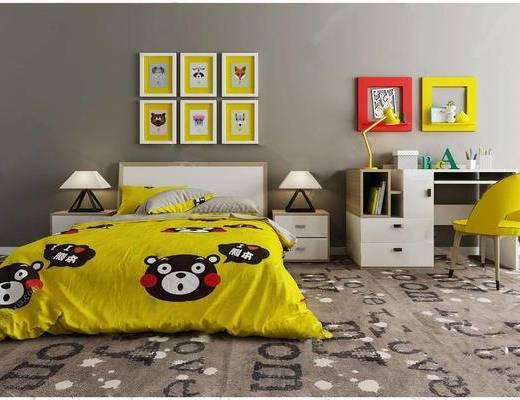 现代简约, 儿童床, 床具组合, 桌椅组合, 台灯