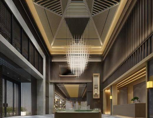 售楼处大厅, 接待台, 造型灯, 吊灯, 前台, 壁灯, 新中式