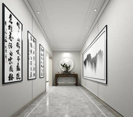 走廊, 过道, 新中式, 中式, 端景台, 字画