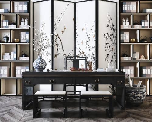 桌椅组合, 屏风, 书柜, 书籍, 书架, 摆件组合