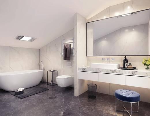 卫生间, 浴缸, 洗手台, 凳子, 马桶, 现代