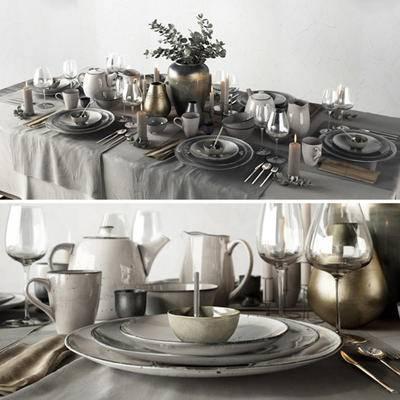 新古典, 餐桌, 餐具, 摆件, 古典, 欧式, 法式