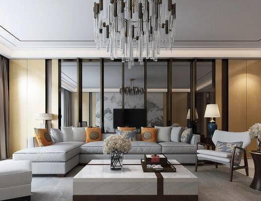 新中式, 客厅, 沙发组合, 桌台, 餐厅, 中式, 沙发, 吊灯, 茶几, 单椅, 台灯