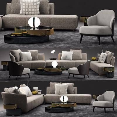 多人沙發, 單人沙發, 茶幾, 擺件, 裝飾品, 陳設品, 現代