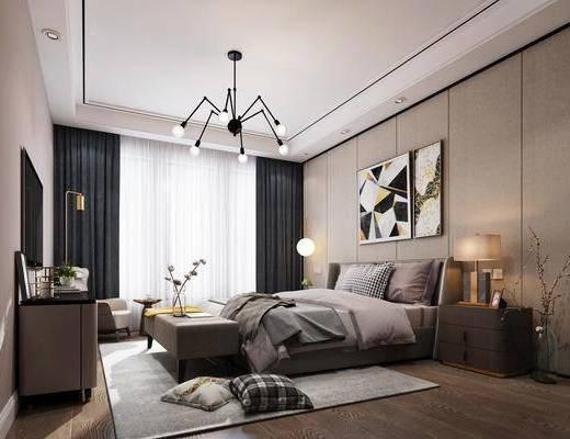 现代卧室, 卧室, 床具, 双人床, 挂画, 装饰画, 床头柜, 台灯, 边柜, 装饰柜, 现代吊灯, 沙发, 边几, 现代边几, 床尾踏
