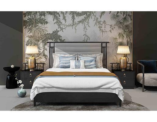 床具组合, 双人床, 床头柜, 台灯, 单人沙发, 新中式