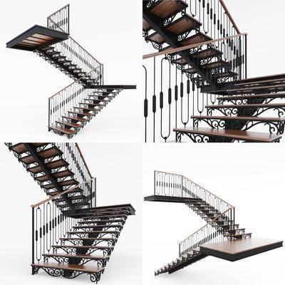 铁艺, 楼梯, 现代, 现代铁艺楼梯, 铁艺楼梯