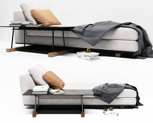 现代灰色布躺椅