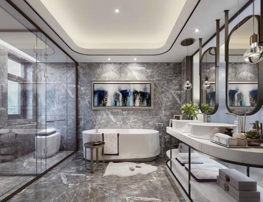 卫浴, 浴缸, 洗手盆, 壁镜