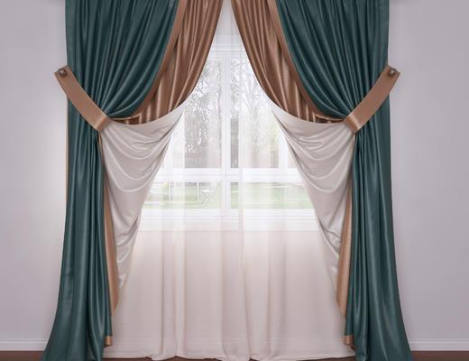 欧式, 窗帘, 纱帘