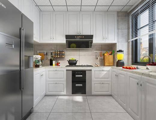 厨房, 简欧厨房, 橱柜, 水果, 冰箱, 烟灶消, 厨具