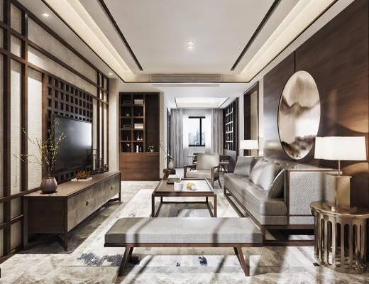 新中式, 中式, 客厅, 沙发组合, 沙发茶几组合, 电视柜, 背景墙, 边几, 台灯, 茶几, 客餐厅, 餐桌椅, 装饰柜, 置物柜