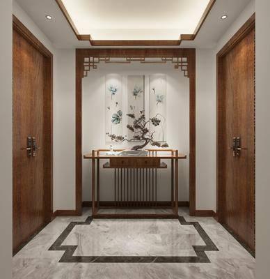 走廊, 玄关柜, 案几, 盆栽, 绿植植物, 装饰画, 挂画, 新中式