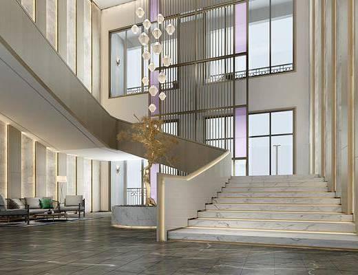 楼梯井, 屏风, 金属吊灯, 休闲沙发组合, 落地窗, 观景池