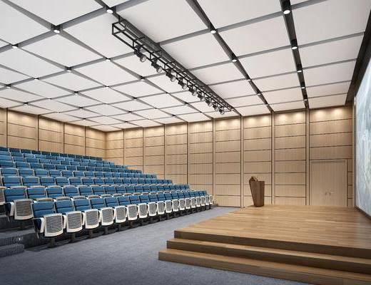 会议厅, 会议桌, 单人椅, 演讲台, 现代