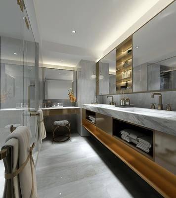 卫生间, 洗手台, 装饰镜, 凳子, 洗浴用品, 现代