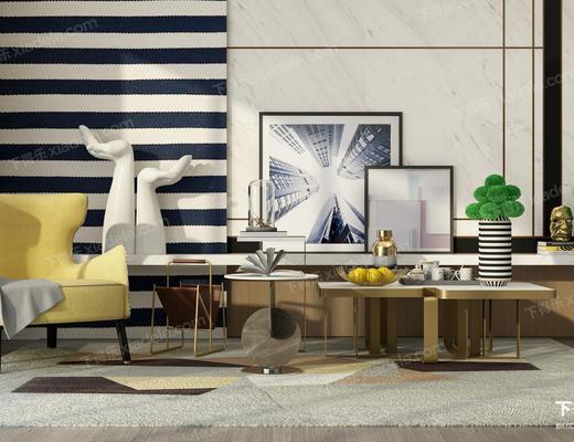 单人沙发, 装饰画, 茶几, 圆几, 边几, 陈设品