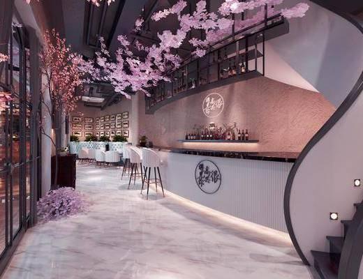 樱花主题餐厅, 餐桌, 餐椅, 单人椅, 餐具, 花卉, 桌子, 楼梯, 日式