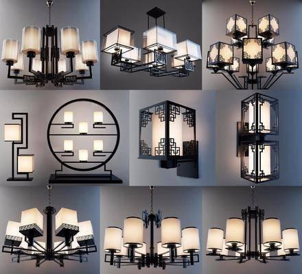 吊灯组合, 壁灯组合, 座灯组合, 中式
