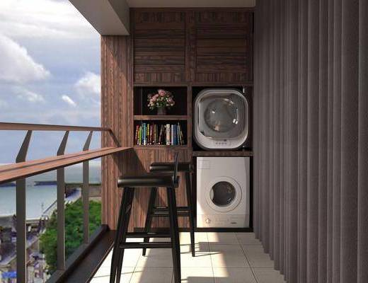 阳台露台, 冰箱, 装饰柜, 书籍, 单人椅, 新中式