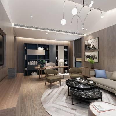 现代, 酒店, 套房, 卧室, 沙发组合, 客厅, 书房, 书柜, 吊灯, 单椅, 休闲椅, 装饰画, 书桌椅, 多人沙发