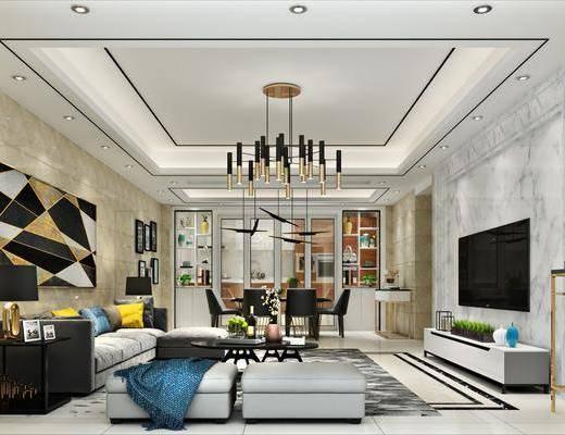 客厅, 餐厅, 现代客餐厅, 沙发组合, 电视柜, 桌椅组合, 餐桌