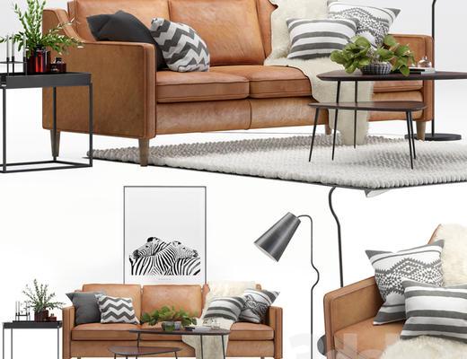 北欧简约, 沙发茶几组合, 植物盆栽, 落地灯, corona
