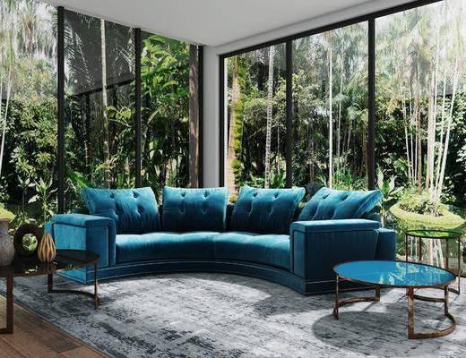 沙发组合, 茶几, 圆几, 现代沙发组合, 弧形沙发, 边几, 摆件, 现代