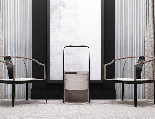 新中式, 休闲椅, 单椅, 椅子, 边几, 角几, 圆几