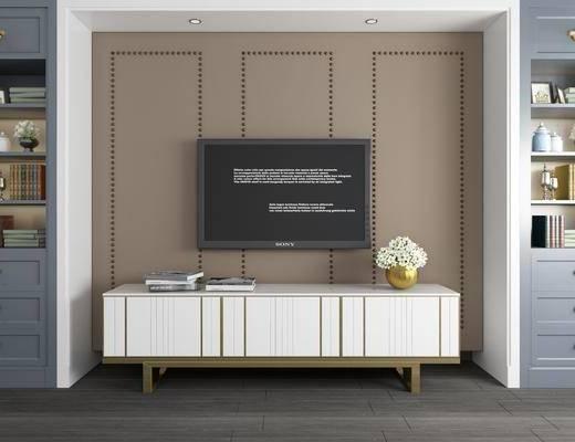 背景墙, 书柜, 电视柜, 边柜, 书籍, 摆件, 装饰品, 陈设品, 现代简约